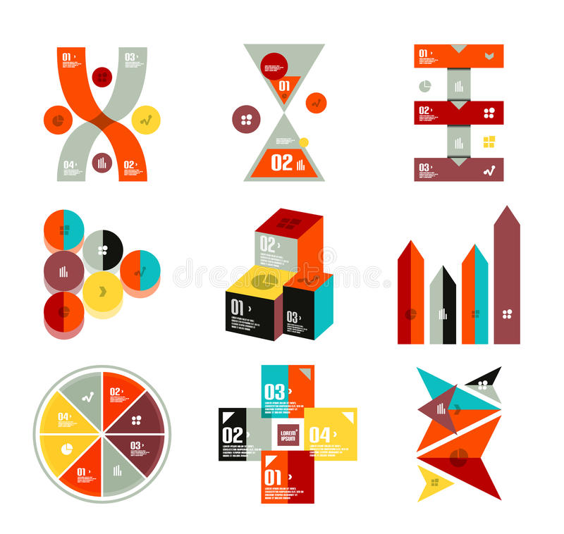 Coleção de moldes infographic coloridos na moda do diagrama ilustração royalty free