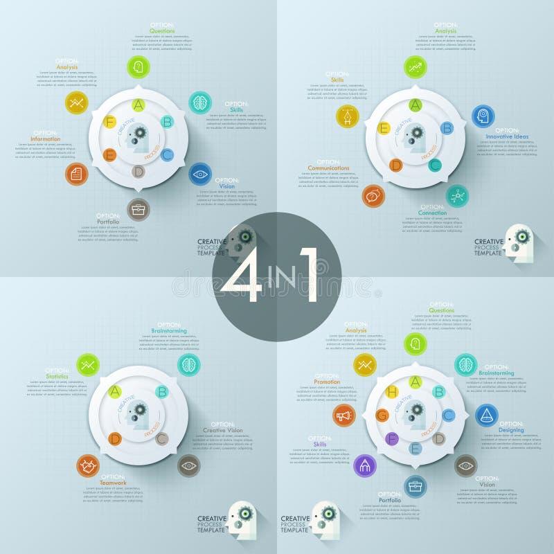 Coleção de 4 moldes infographic criativos do projeto ilustração royalty free