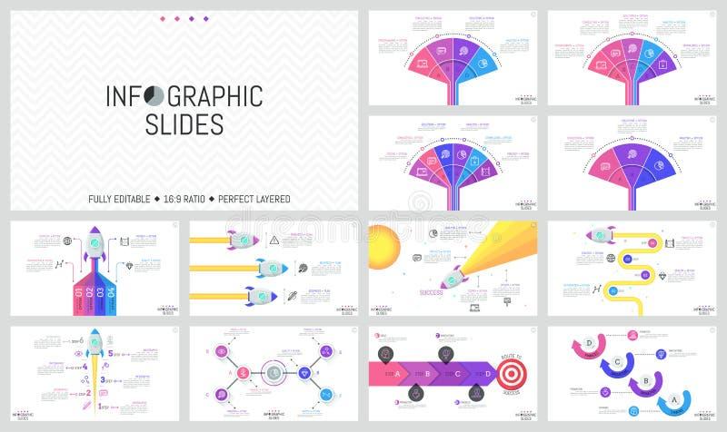 Coleção de moldes infographic mínimos do projeto Cartas dos trabalhos e do fã, diagramas com os foguetes de espaço do voo e ilustração stock