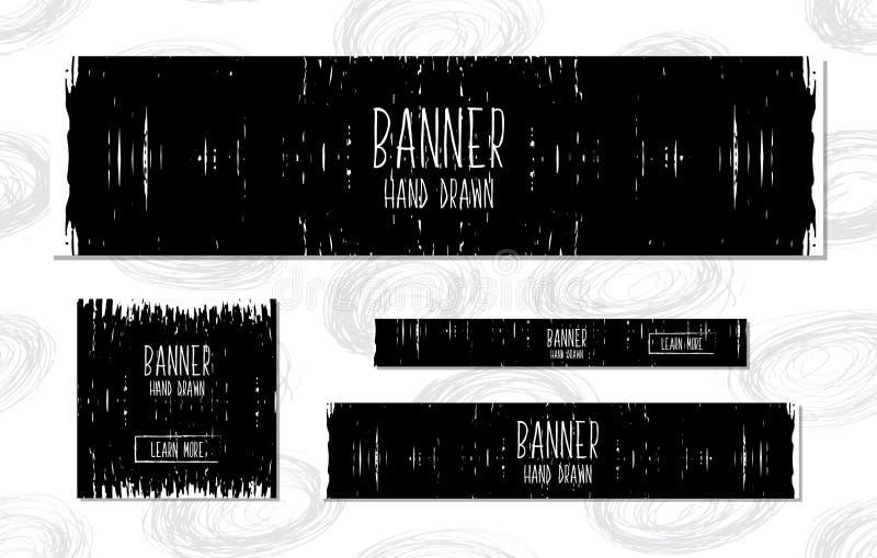 A coleção de moldes preto e branco das bandeiras da Web entrega o estilo moderno tirado para o projeto das sites e de lojas em li ilustração royalty free