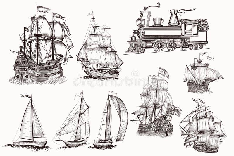 Coleção de navios e do trem altamente detalhados tirados mão do vetor ilustração do vetor