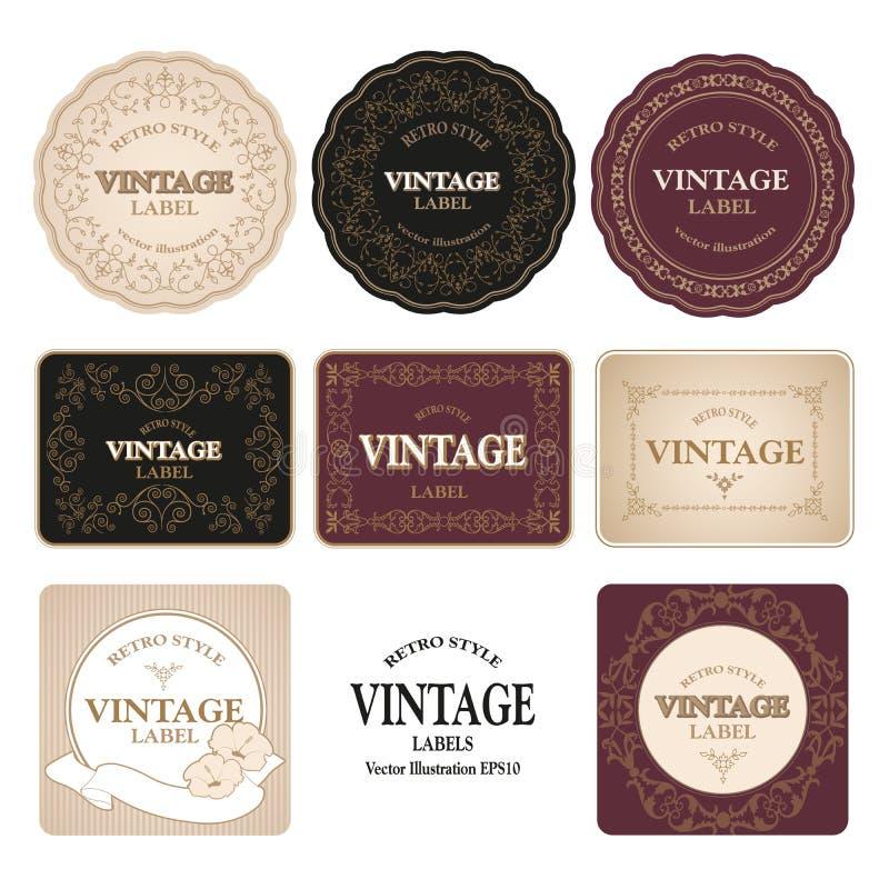 Cole??o de oito etiquetas do vintage isoladas no fundo branco Ilustra??o do vetor ilustração royalty free