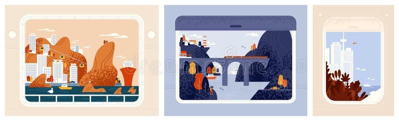 Coleção de opiniões em cidades bonitas, paisagens urbanas da janela do trem, dos aviões ou do navio Em todo o mundo viagem, curso ilustração stock