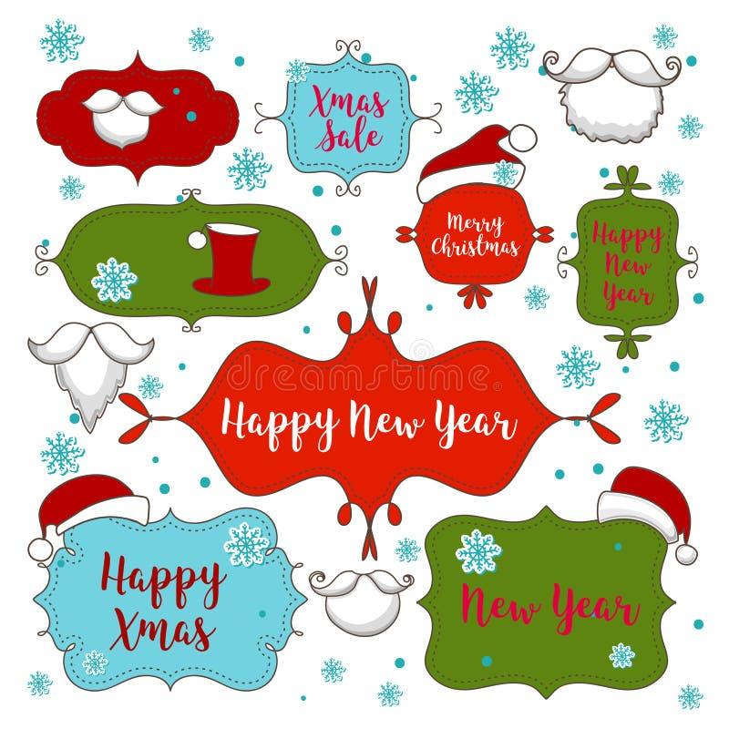 Coleção de ornamento do Natal e elementos, quadros do vintage, etiquetas, etiquetas e fitas decorativos ilustração do vetor