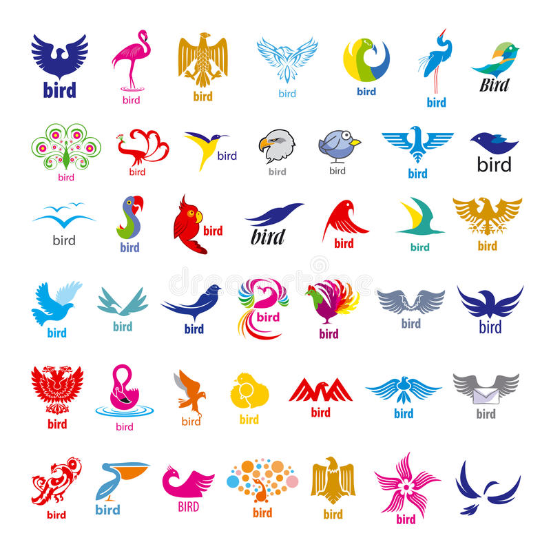 Coleção de pássaros dos logotipos do vetor ilustração do vetor