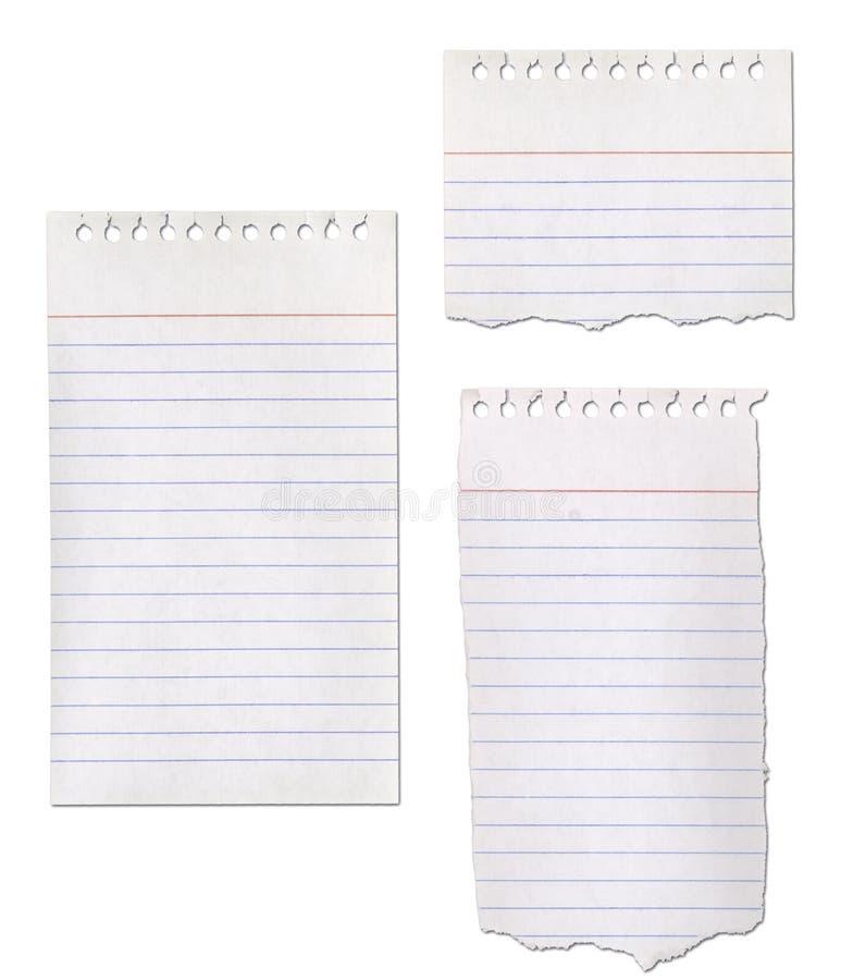 Coleção de papel do bloco de notas imagens de stock royalty free