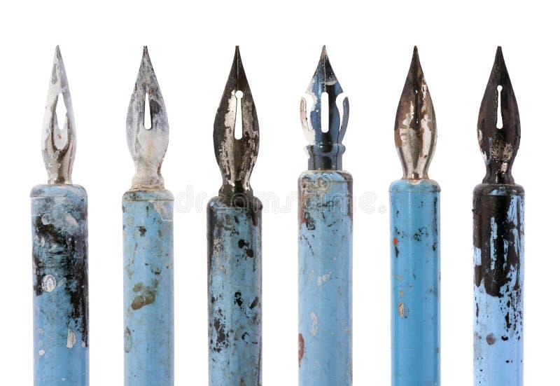 Coleção de penas azuis velhas imagens de stock royalty free