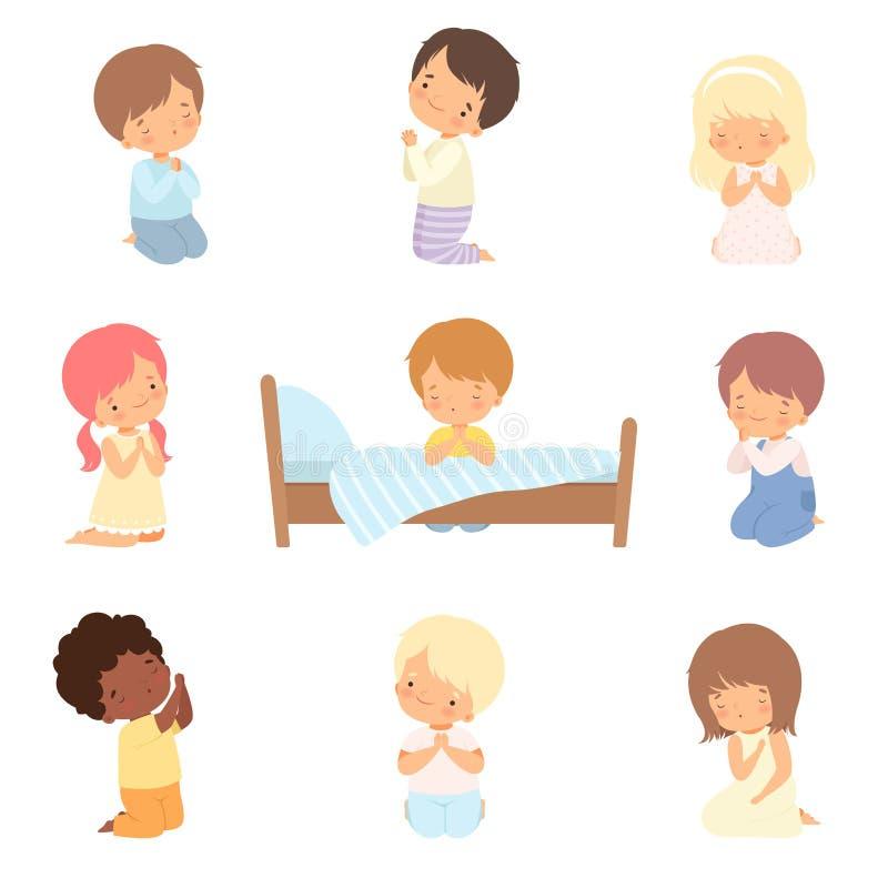 Coleção de pequenos personagens bonitos Kneeling Kneeling e Praying Cartoon Vetor Ilustração ilustração royalty free