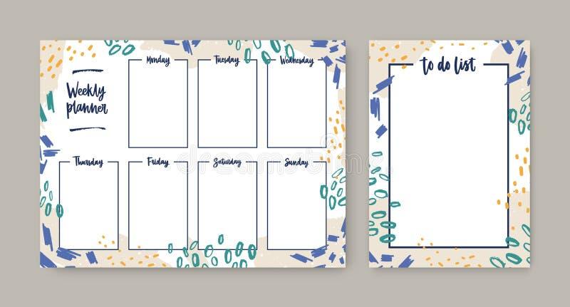 Coleção de planejador semanal com modelos de dias úteis e de lista de tarefas com quadro decorado por daub colorido, marcas de  ilustração royalty free