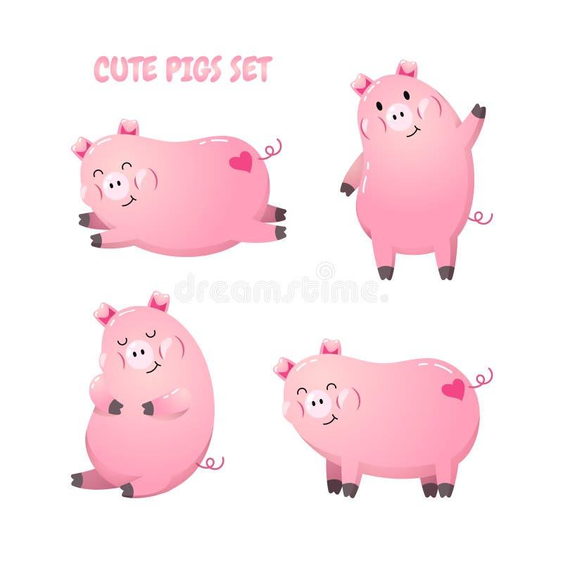 Coleção de porcos bonitos dos desenhos animados Ilustração do vetor Molde para o cartão, bandeira, inseto, design web Ano novo 20 ilustração do vetor