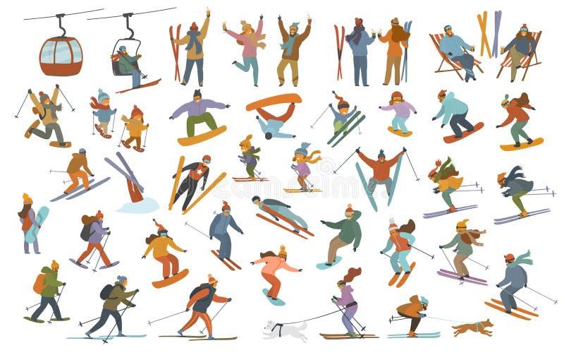 Coleção de povos do inverno, crianças que esquiam para baixo, snowboarding das mulheres dos homens, esquiadores através dos campo ilustração stock