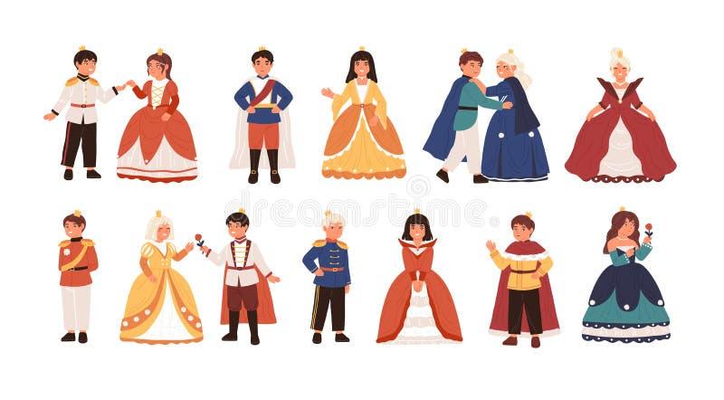 Coleção de príncipes pequenos bonitos e de princesas isolados no fundo branco Pacote de crianças felizes vestidas como reis ilustração do vetor