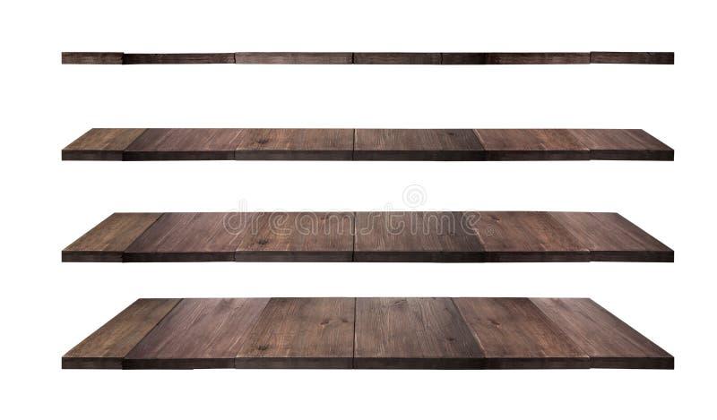 Coleção de prateleiras de madeira fotos de stock