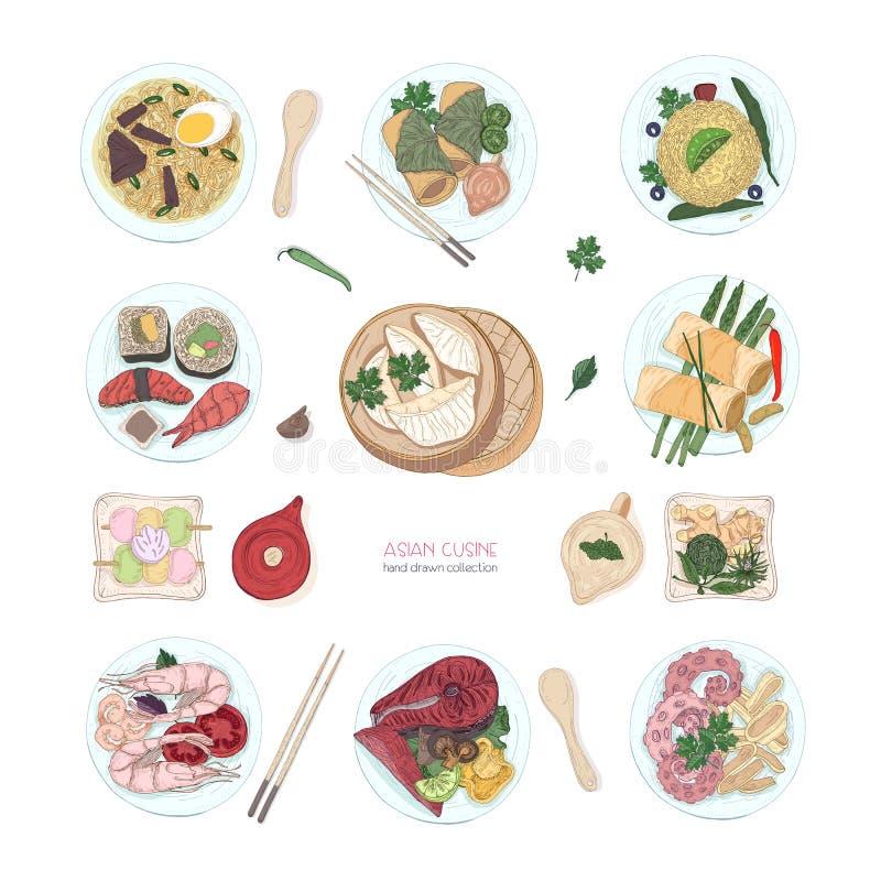 Coleção de pratos coloridos tirados mão da culinária asiática no fundo branco Refeições e petiscos deliciosos ilustração do vetor