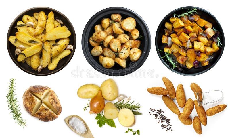 A coleção de pratos da batata isolou a vista superior fotos de stock royalty free