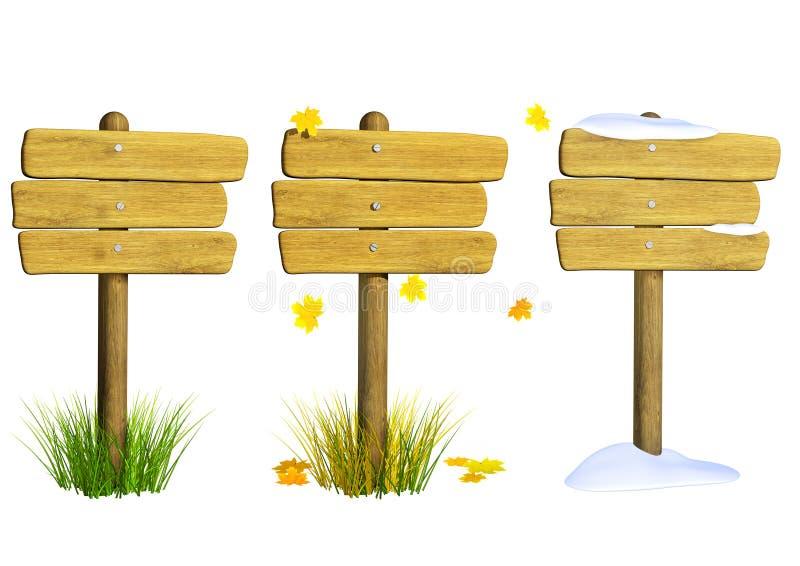 Coleção de quadros indicadores de madeira