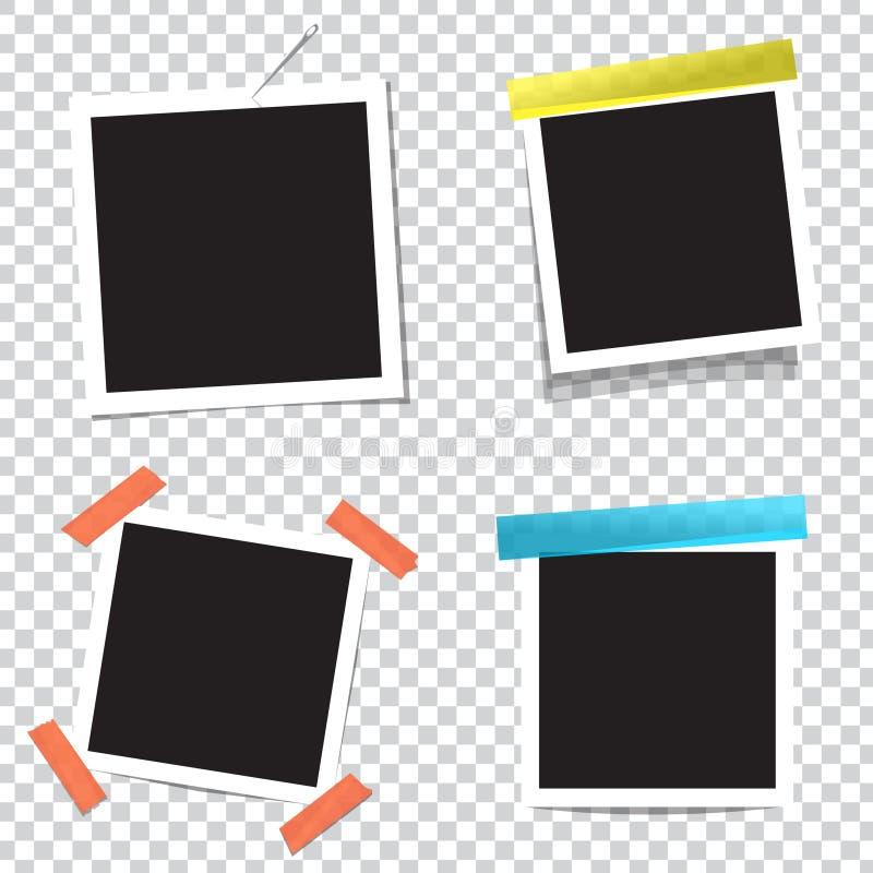 Coleção de quadros vazios da foto com efeitos de sombra transparentes ilustração stock