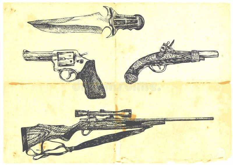 Coleção de quatro armas ilustração royalty free