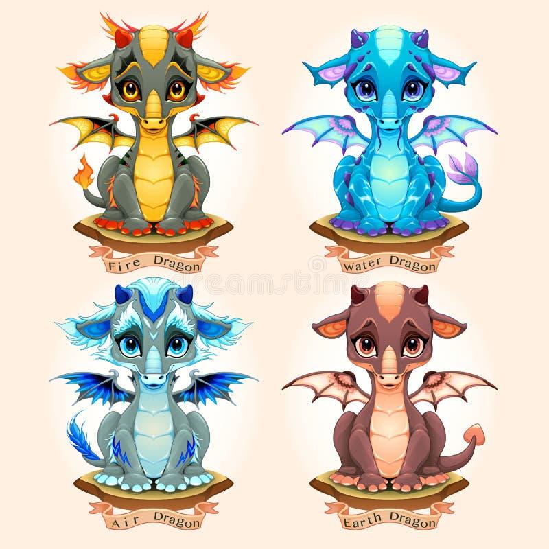 Coleção de quatro dragões, fogos, águas, ares e terras naturais do bebê do elemento ilustração stock