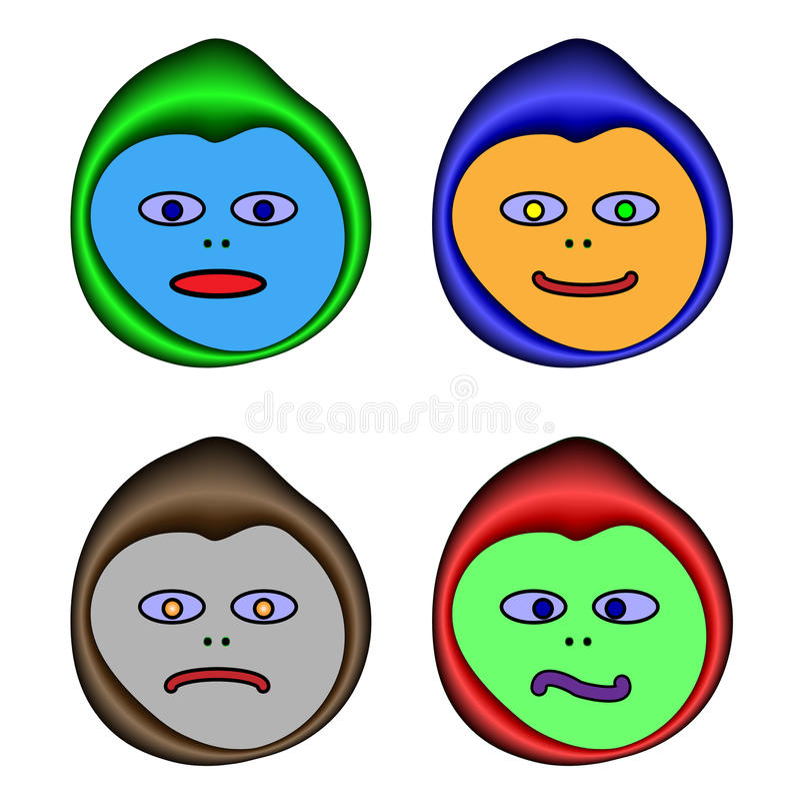 Quatro emoticons animados ilustração do vetor