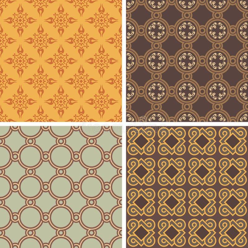 Coleção de quatro testes padrões sem emenda ilustração royalty free