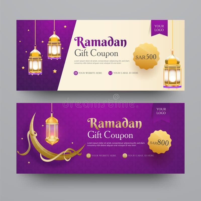 Coleção de Ramadan Gift Coupon ilustração stock