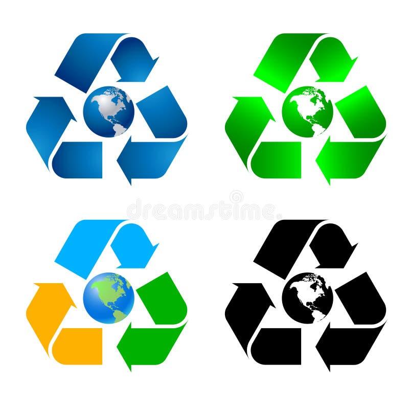 A coleção de recicl símbolos ilustração do vetor
