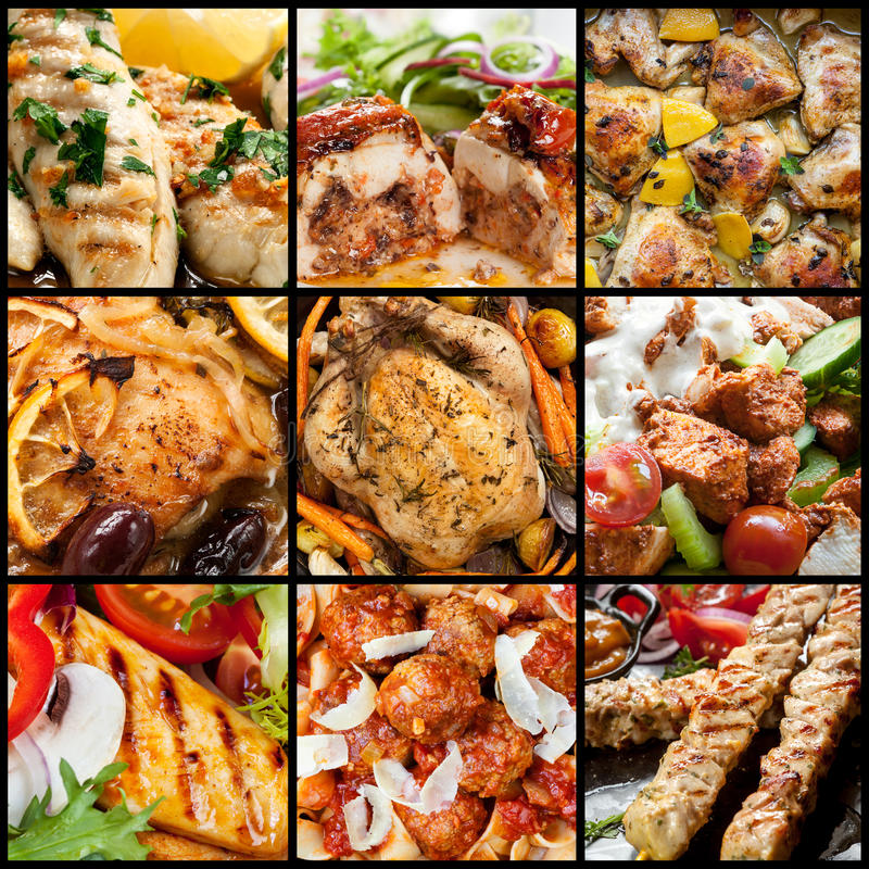 Coleção de refeições da galinha foto de stock royalty free