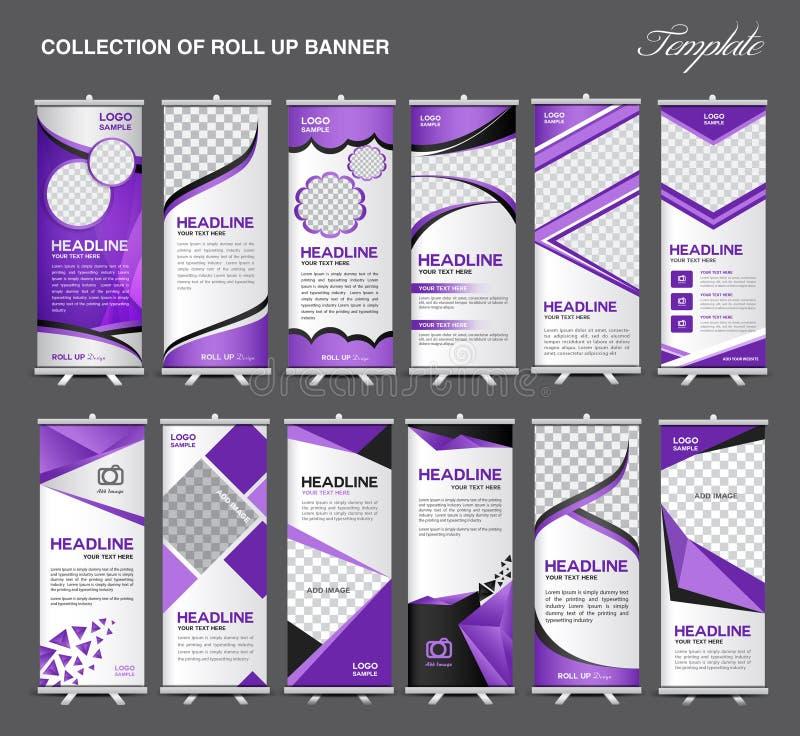 A coleção de rola acima o molde do suporte do projeto da bandeira, projeto do inseto ilustração royalty free