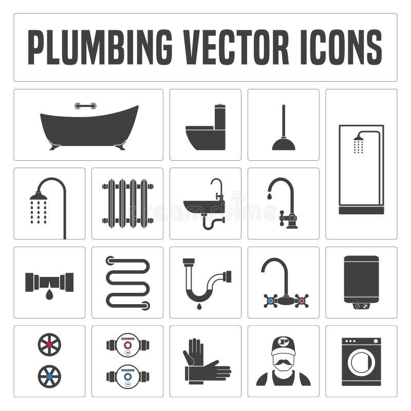 Coleção de símbolos e de ícones do encanamento do vetor ilustração do vetor