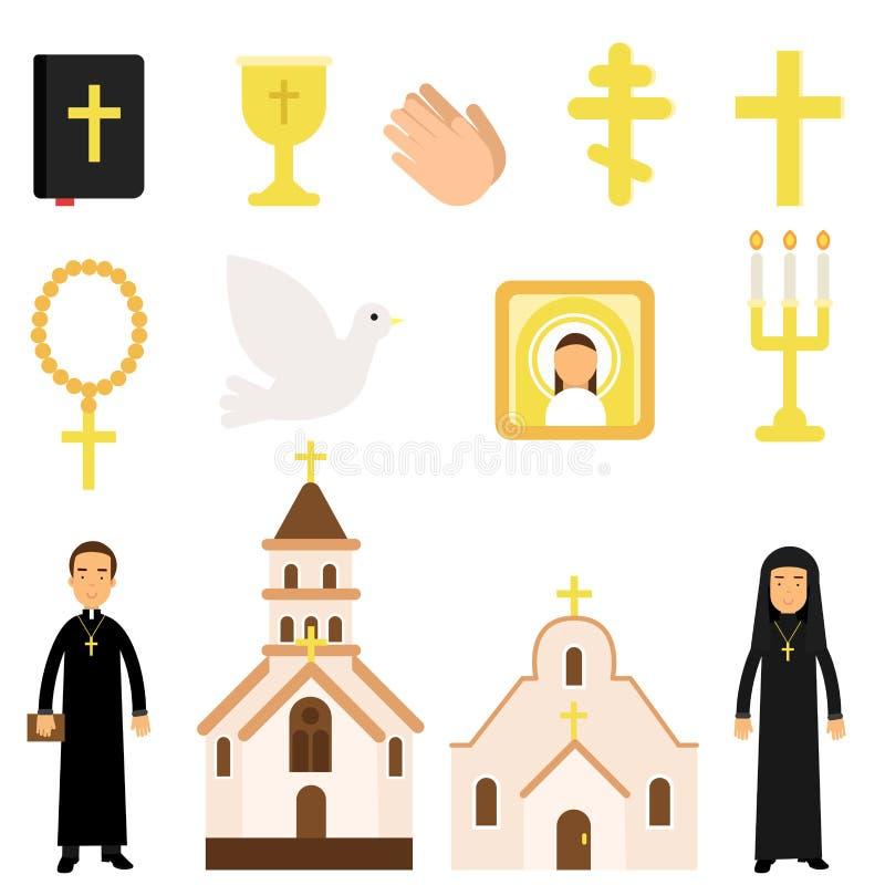 Coleção de símbolos e de objetos religiosos no estilo liso A Bíblia, ícone, cruzes, velas, pomba, assistentes da igreja ilustração royalty free