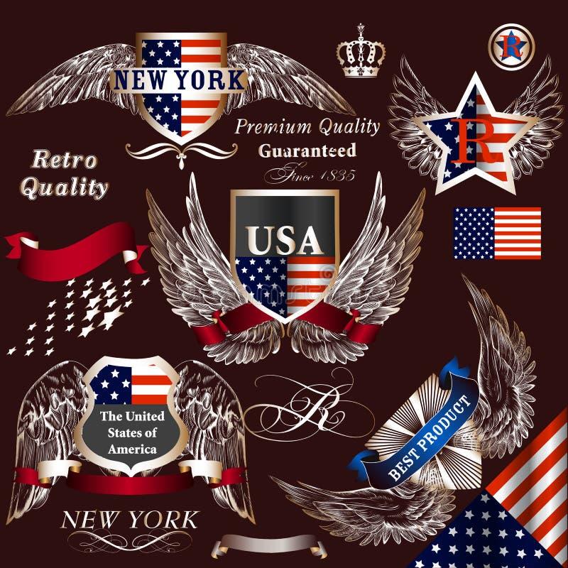 Coleção de símbolos heráldicos decorativos dos EUA dos elementos do vetor ilustração royalty free