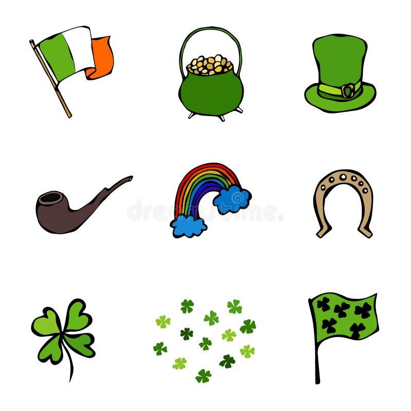 Coleção de símbolos irlandeses Duendes chapéu, ferradura, potenciômetro de ouro, bandeira, caneca de cerveja, arco-íris, trevo Di ilustração do vetor