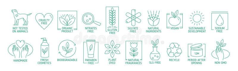 Coleção de símbolos ou de crachás lineares para produtos feitos a mão amigáveis do eco natural, cosméticos orgânicos, vegetariano ilustração royalty free