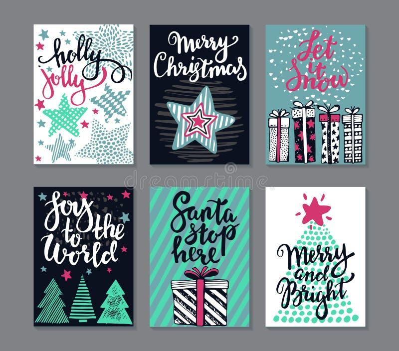 Coleção de seis cartões do Natal ilustração stock