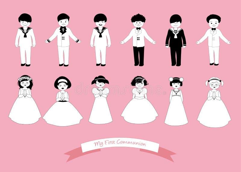 Coleção de seis crianças e de seis meninas que vestem a primeira roupa do comunhão ilustração stock