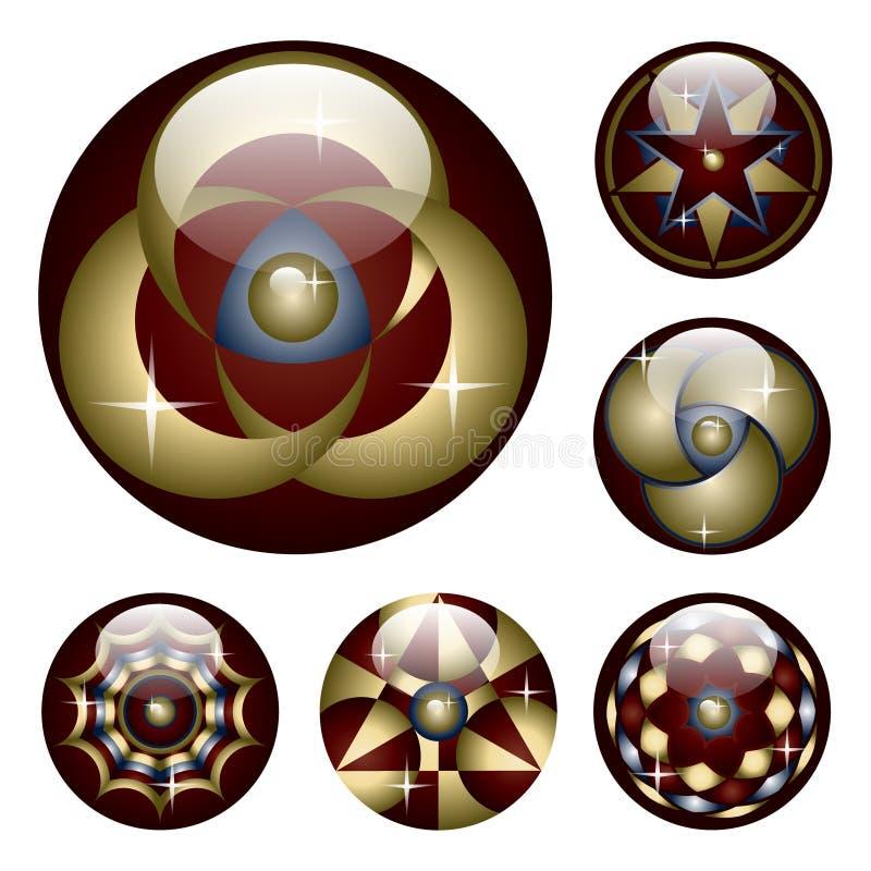 Coleção de seis teclas lustrosas ilustração do vetor