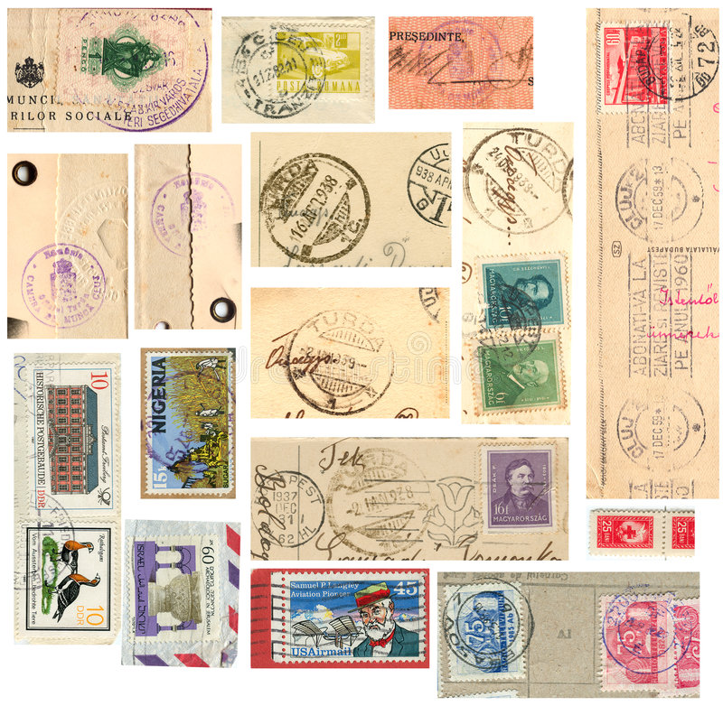 Coleção de selo do vintage fotografia de stock