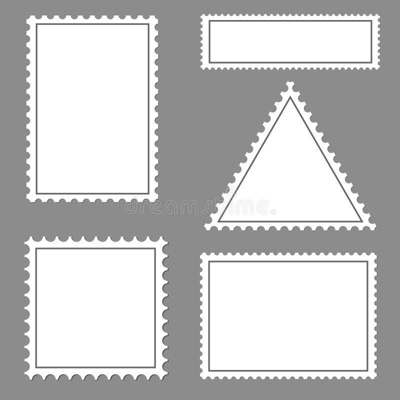 Coleção de selo em branco do porte postal ilustração stock