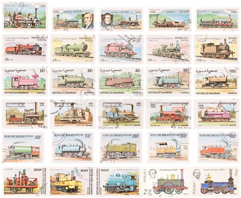 Coleção de selo: Locomotivas de vapor foto de stock royalty free