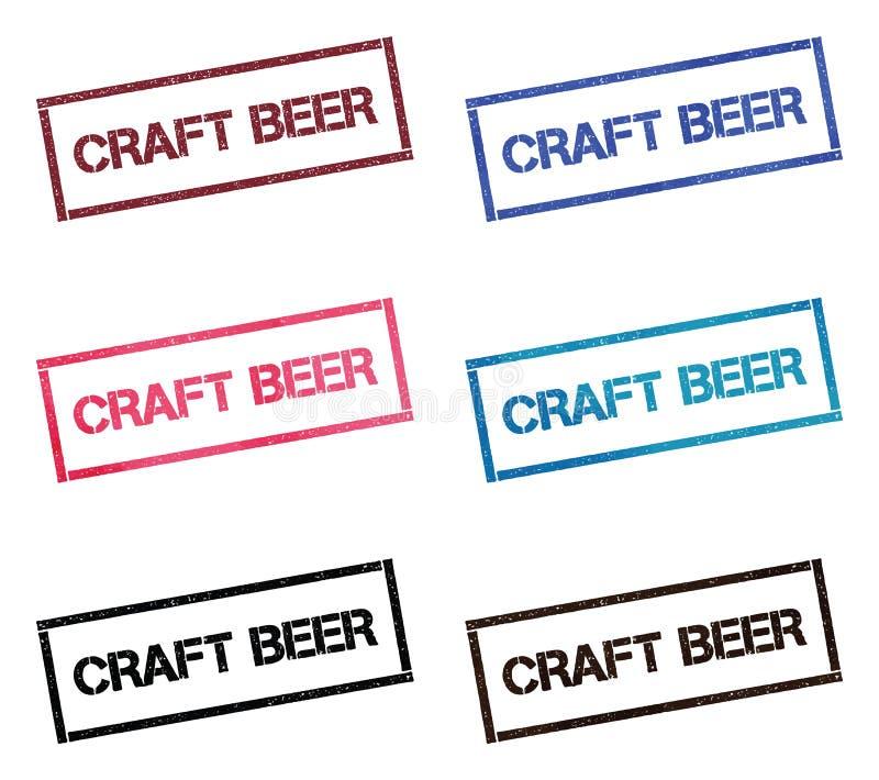 Coleção de selo retangular da cerveja do ofício ilustração stock