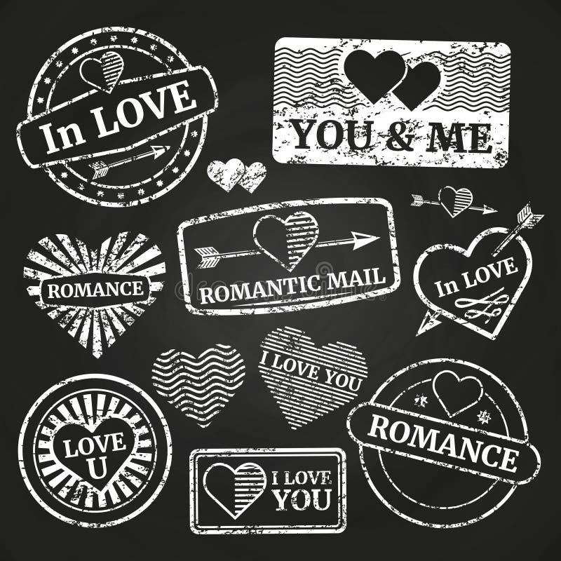 Coleção de selo romântica do grunge do porte postal ilustração royalty free