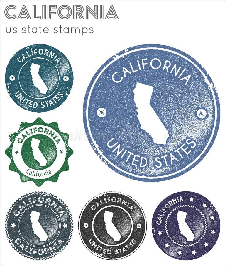 Coleção de selos de Califórnia ilustração royalty free