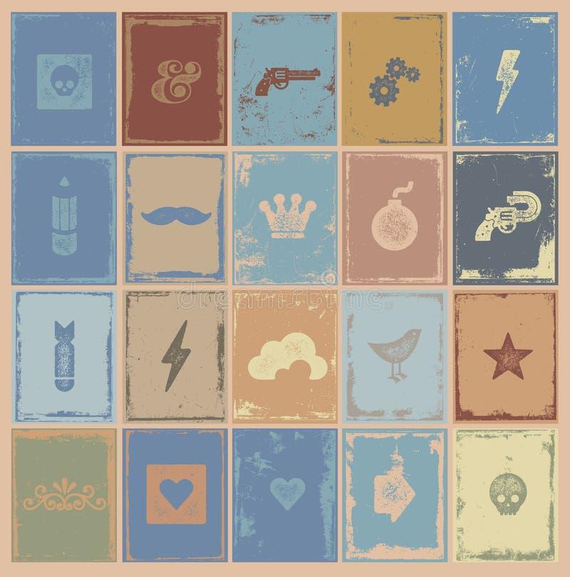 Coleção de selos desgastada simples ilustração royalty free