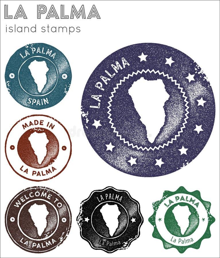 Coleção de selos de Palma do La ilustração stock