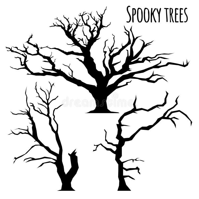 Coleção de silhuetas das árvores no fundo branco ilustração do vetor