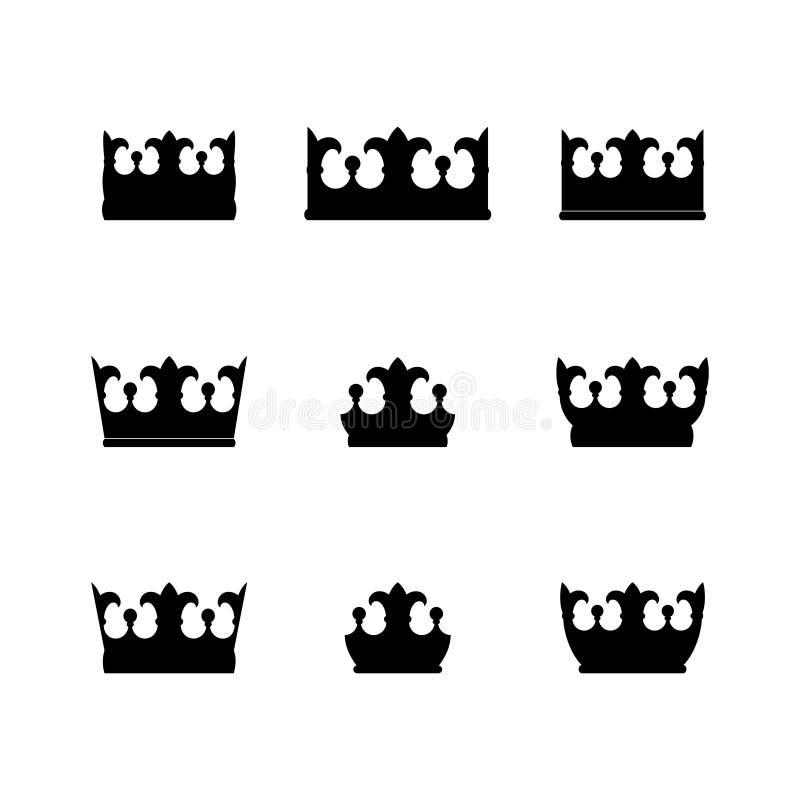 coleção de silhuetas pretas dos símbolos da coroa ilustração do vetor