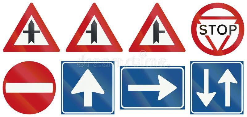 Coleção de sinais de estrada reguladores holandeses ilustração royalty free