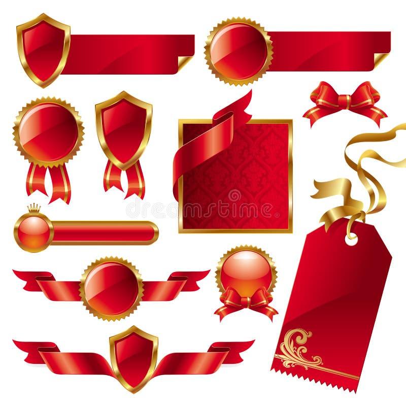 Coleção de sinais e de etiquetas dourado-vermelhos ilustração do vetor