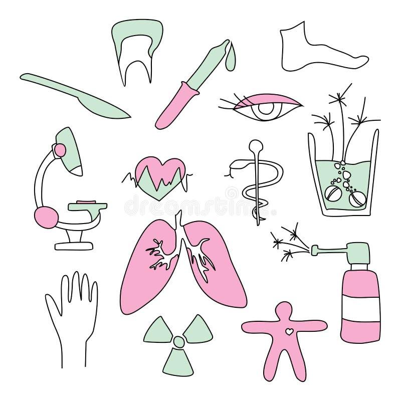 Coleção de sinais médicos ilustração do vetor